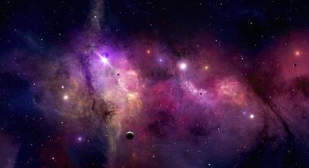 Denkbeeldige schoonheid van kleurrijke nevel sterren en het heelal