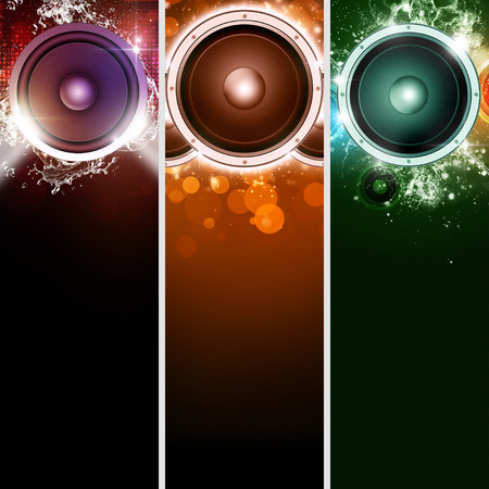 abstract music party sound speakers banners for bright event photo