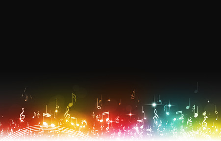 abstract music notes on dark multicolor background