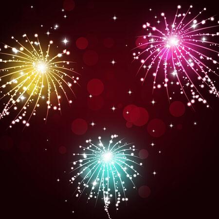 bright multicolor celebration pyrotechnics show night background