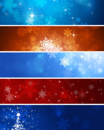abstract winter Christmas banner backgrounds with snowflakes, bokeh and lights