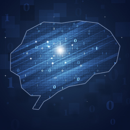 businees: abstract binary code brain concept technology and businees background