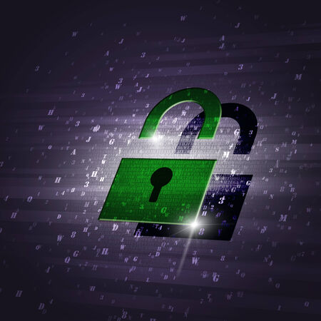 security technology: abstract concept green security code lock technology blue background
