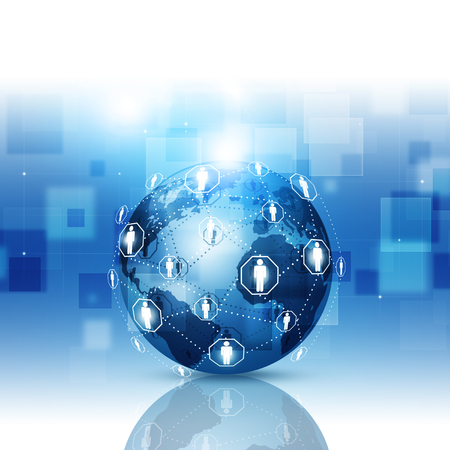 abstract technology world global network connection blue business background