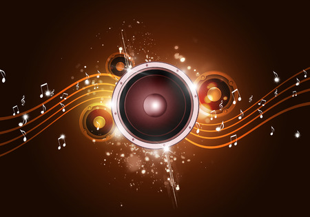 party music golden background for flyers and nightclub posters Banco de Imagens - 33201354