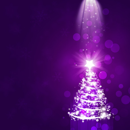 christmas tree purple: purple abstract christmas celebration background with tree and snowflakes