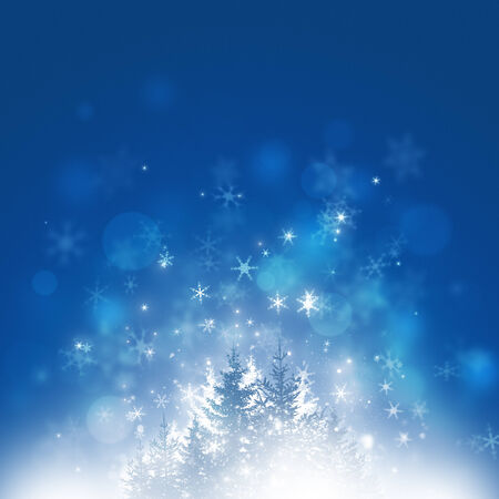 winter abstract background with trees snowflakes stars and lights  no filters, basic gradient, slight noise Stock Photo