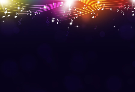 music notes and blurry lights on bright multicolor background