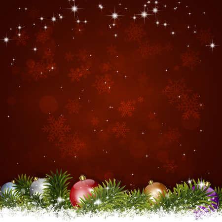 semaforo en rojo: vacaciones de invierno fondo de felicitaci�n de Navidad con el �rbol de abeto de la nieve y las luces borrosas Foto de archivo