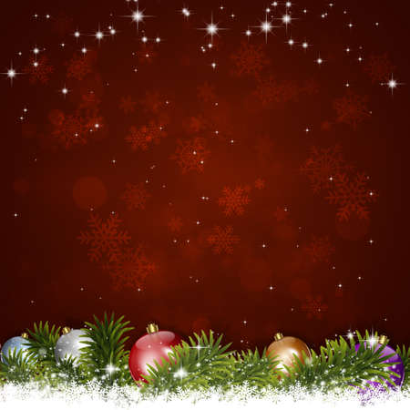 light red: winter holiday christmas greeting background with snow fir tree and blurry lights Stock Photo