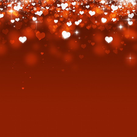 blinking: abstract valentine magic falling hearts on red background Stock Photo