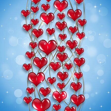 gold chain: valentine holiday red hearts on gold chain abstract blue background