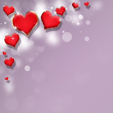 jewellry: lovely valentine red hearts on the bright background Stock Photo