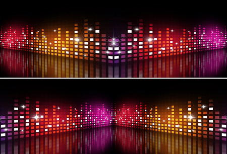 dances: abstract music equalizer multicolor banners for active party events Stock Photo
