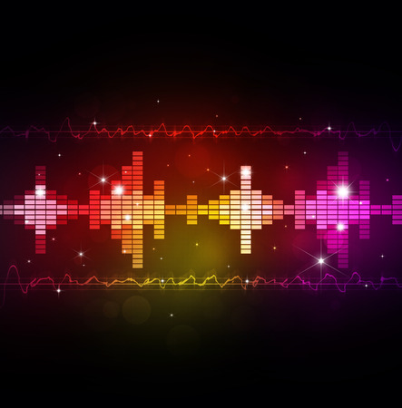 abstract music multicolor background with equalizer and music waves