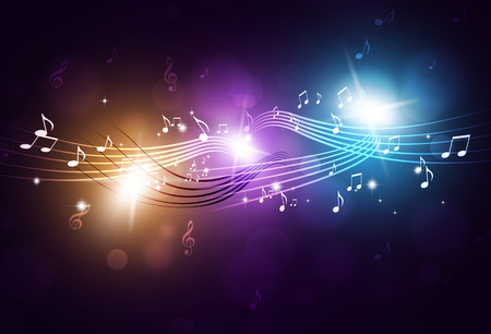 abstract dance: music notes and blurry lights on bright multicolor background