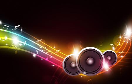 抽象的なパーティー バック グラウンド サウンド スピーカーと音楽ノート 写真素材