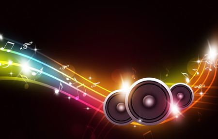 abstract party background with sound speakers and music notes