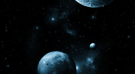 imaginary: imaginary deep space image with stars and planets Stock Photo