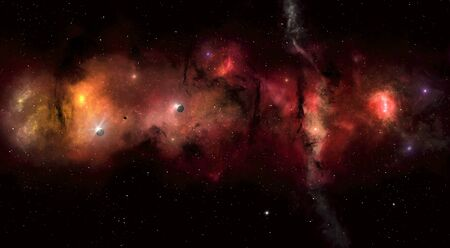 imaginary: imaginary deep space star filed with nebula stars and planets