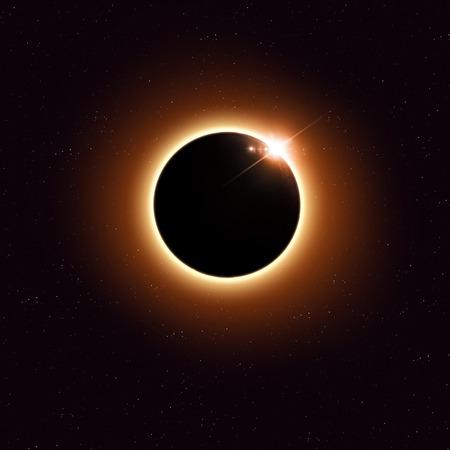 sol y luna: imaginario espacio eclipse solar imagen roja con estrellas y luces Foto de archivo