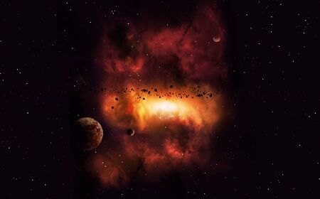 imaginary: abstract imaginary deep space nebula background with planets and asteroids