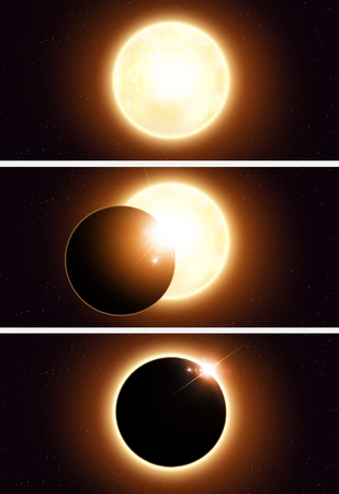 imaginary: imaginary solar eclipse space red banners with stars and lights Stock Photo