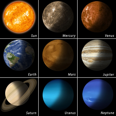 best known: all best known solar system planets and the main star sun
