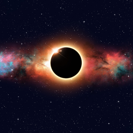 eclipse: imaginary solar eclipse deep space multicolor background Stock Photo