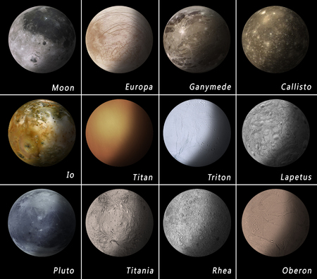 most known satellites of our solar system Stock Photo