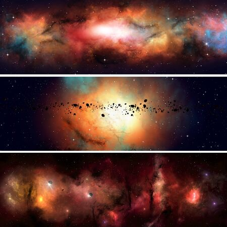 imaginary: abstract imaginary deep space nebula banners with planets and asteroids Stock Photo
