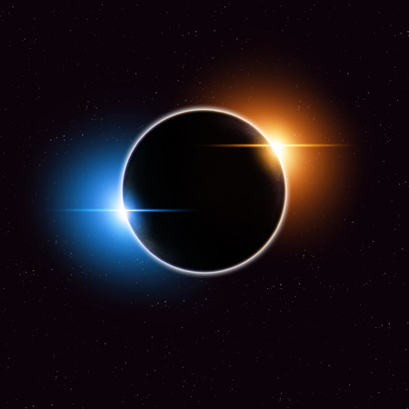 eclipse: imaginary solar eclipse space red image with stars and lights Stock Photo