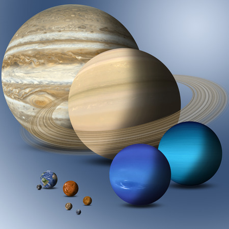big family: the big family of solar system planets full size comparison Elements of this image furnished by NASA