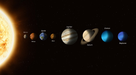the big family of solar system planets with a sun in the head Elements of this image furnished Archivio Fotografico