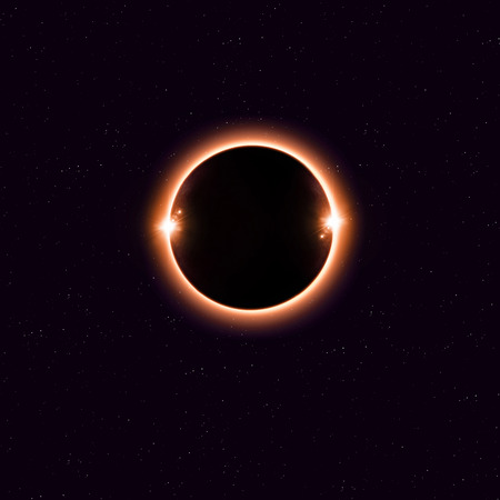 imaginary: imaginary solar eclipse space red image with stars and lights Stock Photo