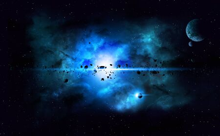 deep: abstract imaginary deep space nebula background with planets and asteroids