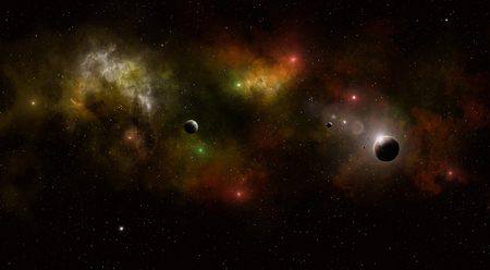 imaginary: abstract imaginary deep space nebula background with planets and stars Stock Photo
