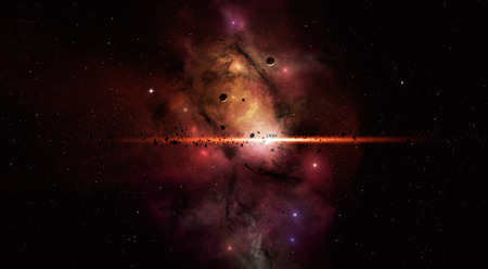 imaginary deep space star filed with asteroids stars and planets