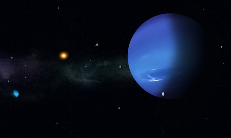 imaginary: imaginary space journey to the blue gas giant Neptune Stock Photo