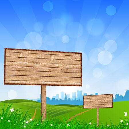 country side: wood notice board in the country side and city skyline in the background