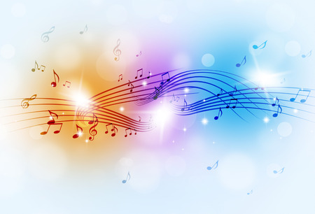 abstract music notes and blurry lights on bright multicolor background photo