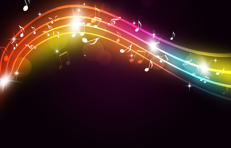 abstract party multicolor background with music notes and blurry lights