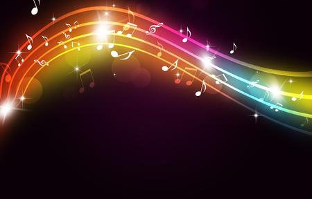 Abstracte feest multicolor achtergrond met muziek notities en wazige lichten