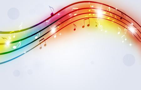 abstracte heldere partij multicolor achtergrond met muziek notities Stockfoto