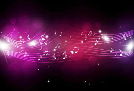 abstract music notes and blurry lights on bright multicolor background Stockfoto