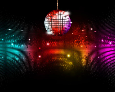 music ball multicolor disco party floor background Imagens