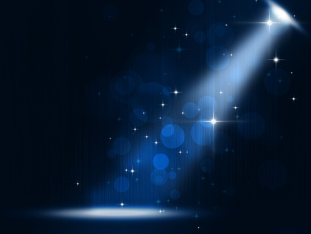 glittering: concert stage spotlight party music background on blue background Stock Photo