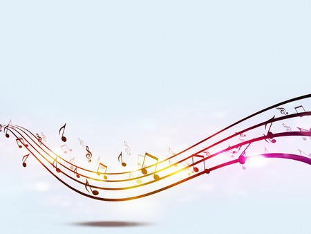 funky music: abstract music notes funky multicolor party background