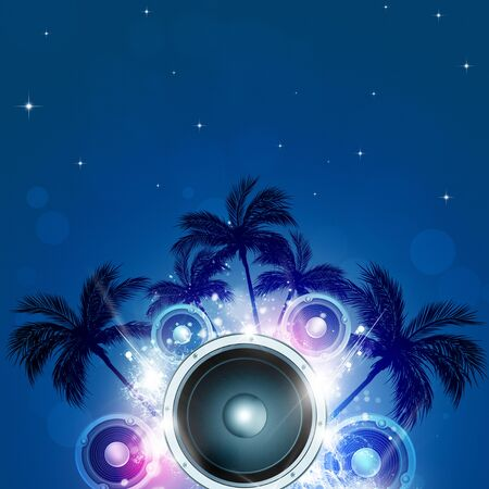 relaxation background: summer tropical party night pacific music background with palms and sound speaker