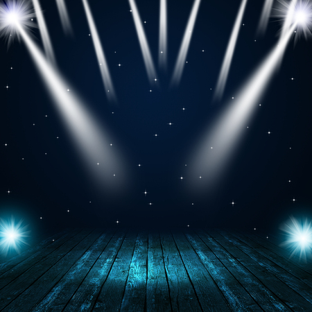 music concert background with spotlights on the stage